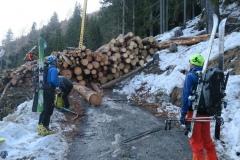 Gozdarji so cesto zagradili tako, da je bilo potrebno kar nekoliko poplezati čez ogromno količino hlodov na njej